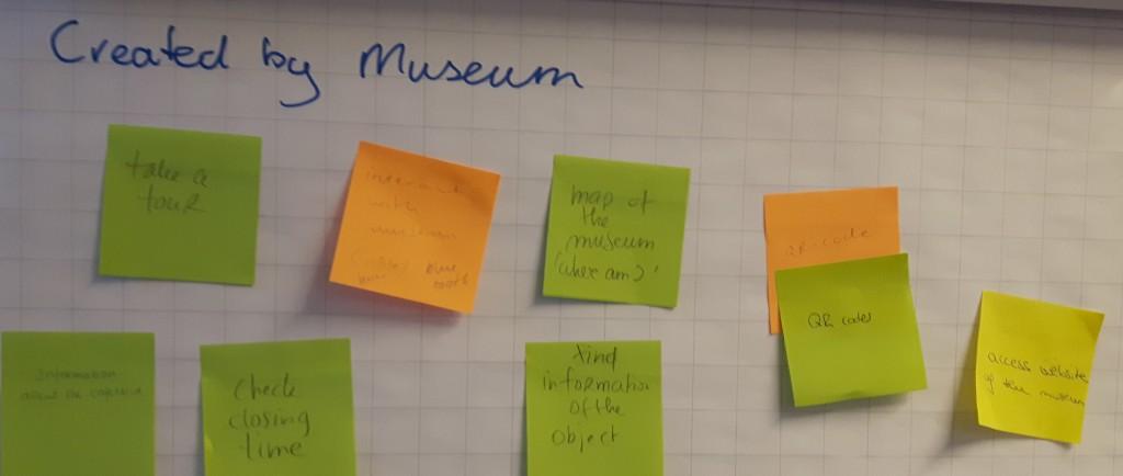 Detail van de smartphone brainstorm workshop waarbij producten en informatie die door het museum zijn ontwikkeld worden genoemd. (Foto: Merel van der Vaart)