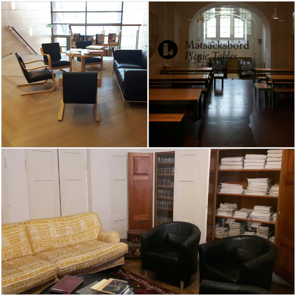 De leeshoek in Moderna Museet, picknickruimte van Nordiska Museet en de luie bank in Halwyll huismuseum.