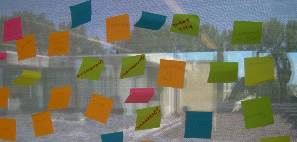 Wand vol post-its met daarop aantekeningen)